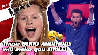 Top 10 | HAPPY & FUNNY Blind Auditions in The Voice Kids! 😃