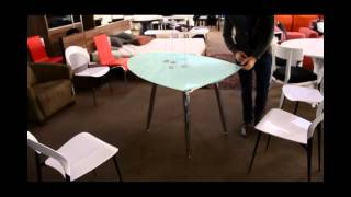 Modern Frosted Glass Dining Table With Extension | (866)397-0933 Lafurniturestore.com