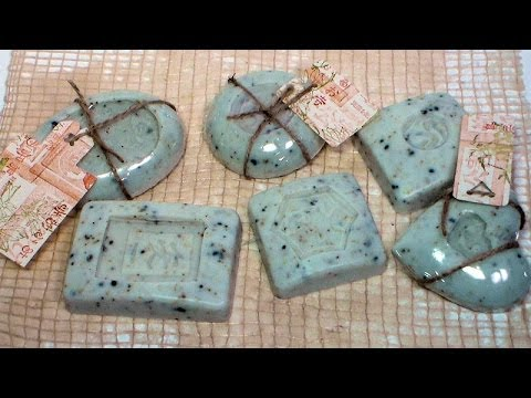 DIY embossed soap with rubber stamps