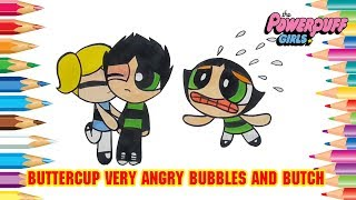 Powerpuff Girls Buttercup very angry Bubbles and Butch Rowdyruff Boys | PPG Coloring Pages #349