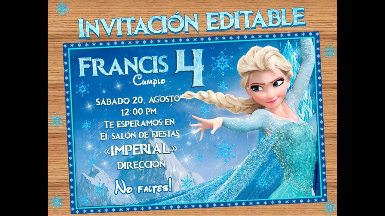 Invitacion Editable E Imprimible Inspirada En La Princesa