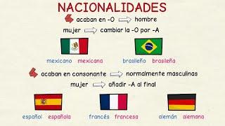 Aprender Español Los Adjetivos De Las Nacionalidades Nivel Básico Youtube
