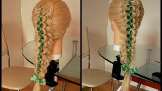 Коса вытянутая + коса однопрядная с лентой.Видео-урок.