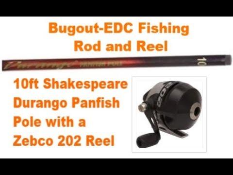 Bugout-EDC Fishing Rod And Zebco 202 Reel - Shakespeare Durango Panfish Pole (SurvivalGeek)