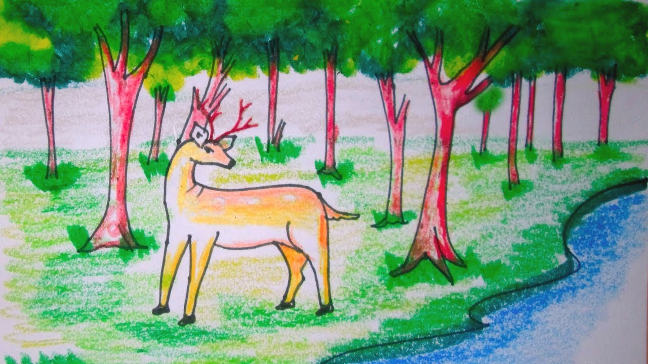 How To Draw Forest Scenery With Animals Forest Scenery Drawing