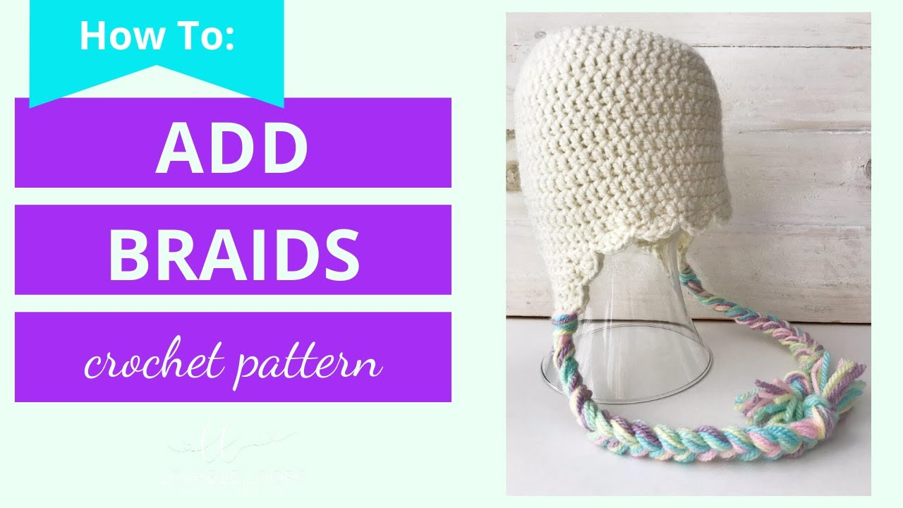 4ecd71fba05 How to add Braids to a Crochet Beanie with Earflaps - YouTube