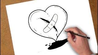 كيفية رسم كسر القلب