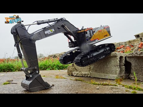 new-huina-1592-|-profissional-construction-excavator-remote-control-|-unboxing-|-cars-trucks-4-fun
