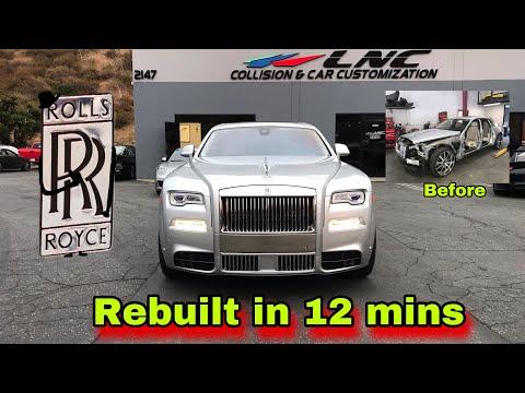 REBUILDING A SALVAGE ROLLS ROYCE IN 12 MINUTES INCREDIBLE CAR BUILD TRANSFORMATION