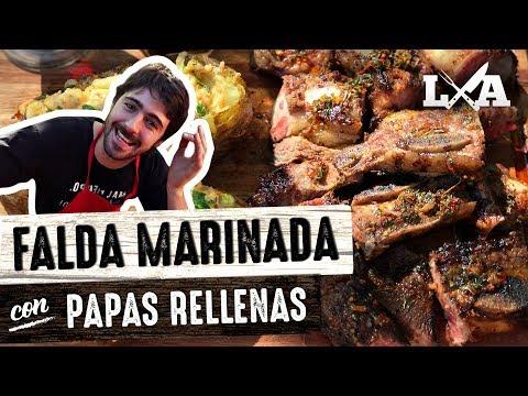Falda Marinada con Papas Rellenas - Receta de Locos X el Asado