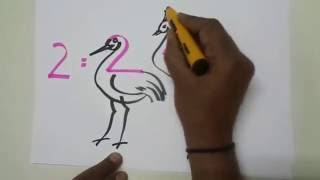 Drawing Techniques - How to Draw Animals Using Numbers 2 and Letters