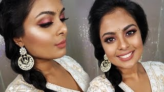 Indian Wedding Guest Makeup Tutorial - Metallic Rose Gold Eyes & Brown Lips-GRWM-Huda Beauty Dupe