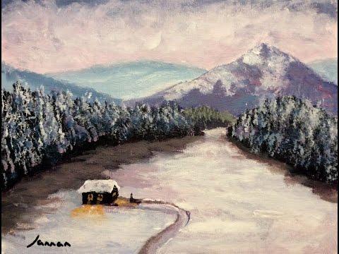 Malen mit Acryl: Romantische Winterlandschaft (Teil 1/2)