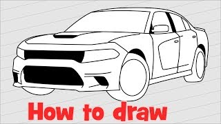 How to draw a car DODGE CHARGER SRT