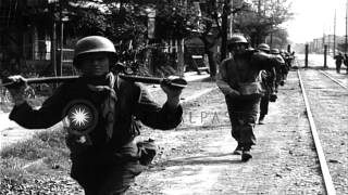 Units of the U.S. 1st Cavalry Division entering outskirts of Manila, Philippines,...HD Stock Footage