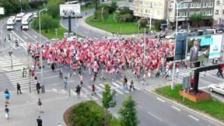 Žižkov - Slavia 2009 (fandění na křižovatce)