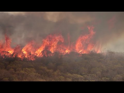 Firefighters combat wildfires in central Argentina