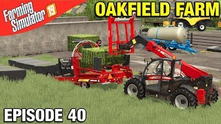 WRAPPING SILAGE BALES Farming Simulator 19 Timelapse - Oakfield Farm Seasons FS19 Episode 40