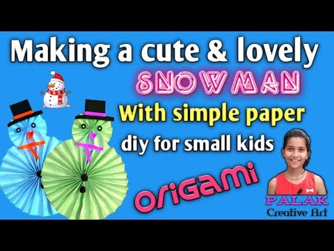 How to make a cute snowman with simple paper # easy diy for small kids by Palak