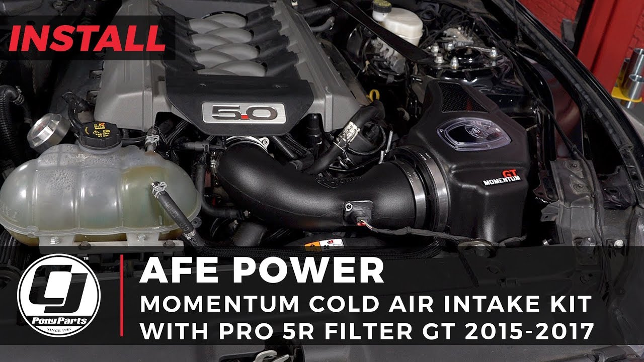 medium resolution of 2015 2017 mustang gt install afe momentum gt cold air intake system with a pro 5r filter
