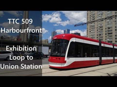 Ride on TTC 509 Harbourfront Streetcar Exhibition Loop to Union in 2 Minutes (Timelapse)