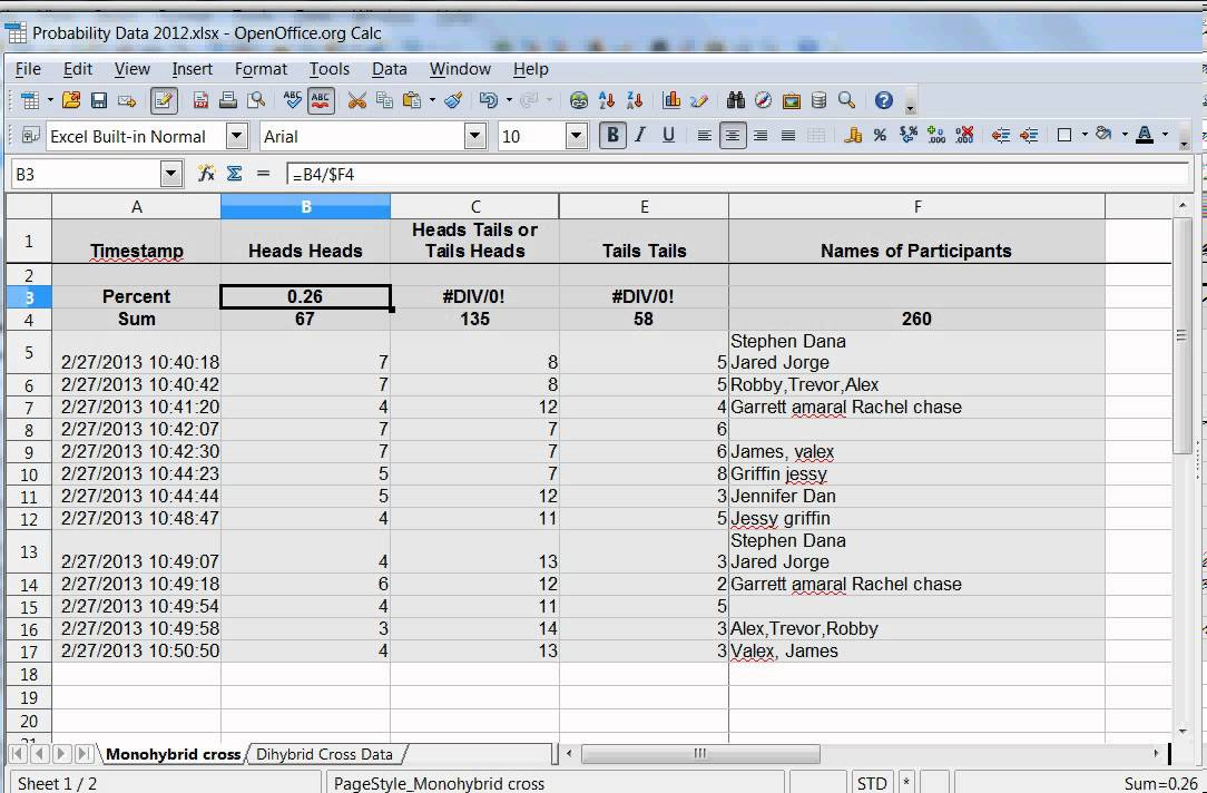 Using excel to calculate coin toss probability