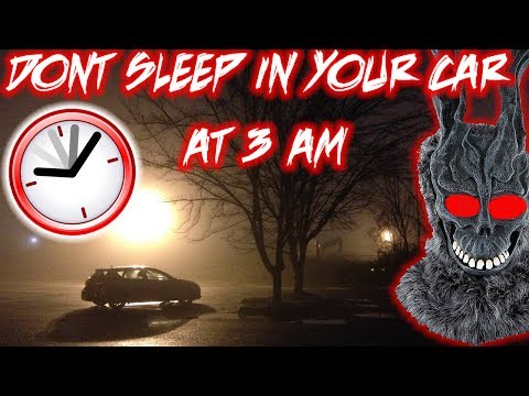 SLEEPING IN A PARKING LOT AT 3 AM | DON'T FILM YOURSELF SLEEPING IN YOUR CAR AT 3 AM CHALLENGE