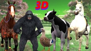 vuclip Finger Family Rhyme - KING KONG & HORSE Version | Funny  Children Poems In 3D