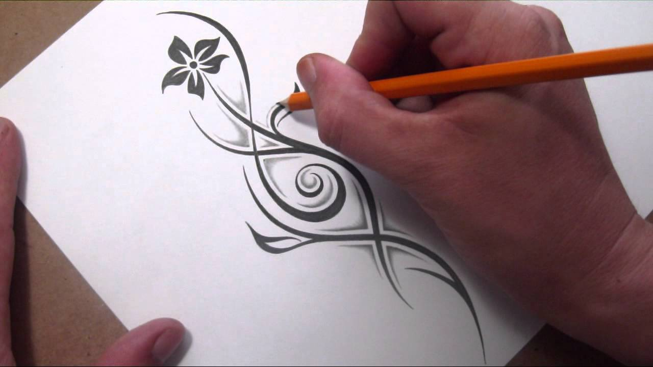 Line Drawing With Shading : Drawing a tribal flower and stem with little shading youtube