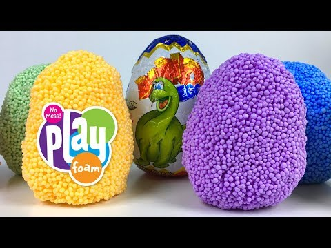 UNBOXING PLAY FOAM DINO PALS AND DINO SURPRISE EGG WITH BRONTOSAURUS T-REX STEGOSAURUS & TRICERATOPS
