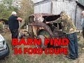 Abandoned 1934 Ford Coupe Barn Find 5 window rusty gold 34