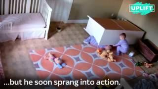 видео На ребёнка упал шкаф, брат спас