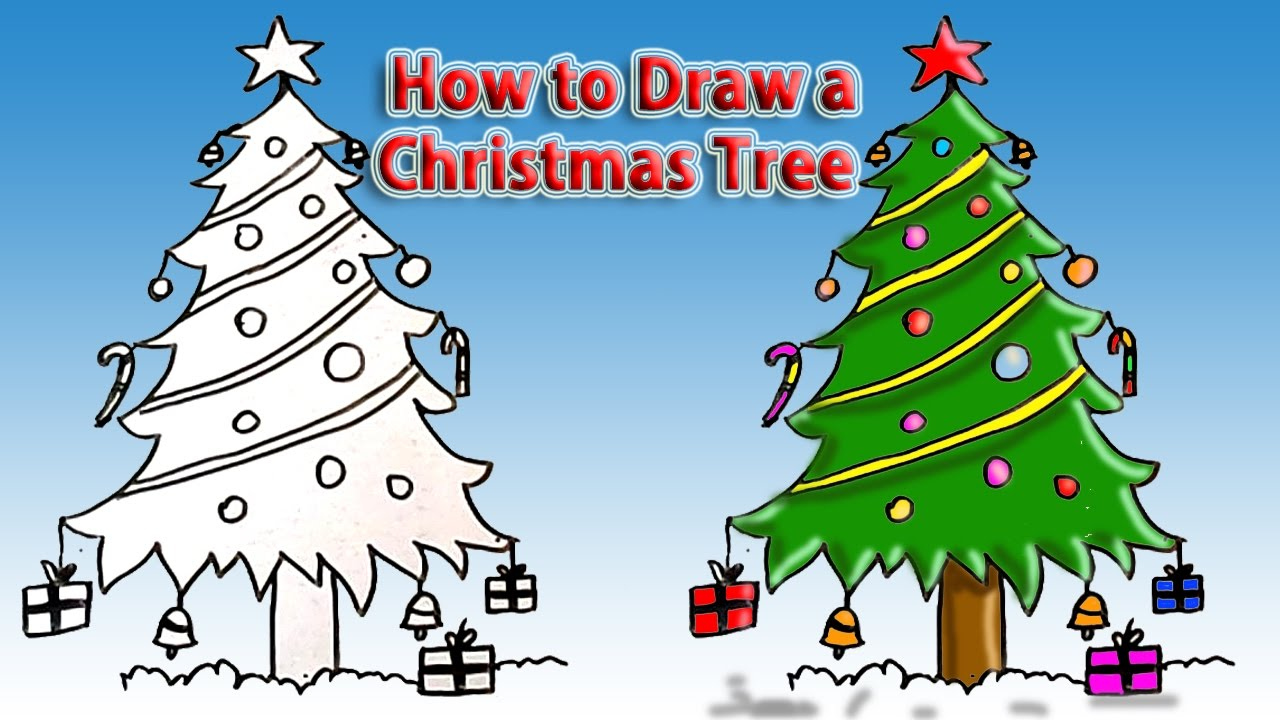 Uncategorized Drawing Of Christmas how to draw christmas tree simple drawing tutorial for beginners easy youtube