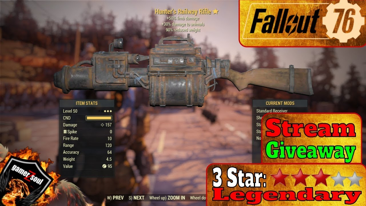 Fallout 76 PC [3 Stars Legendary Weapons and Armor] - Hunter's Railway  Rifle #Fallout76