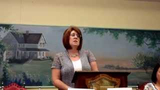 Dallam County Justice of the Peace write in candidate Carol Smith speaks in Dalhart. 9/18/2014.