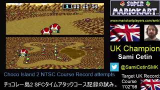 "Super Mario Kart SNES Time Trial NTSC Choco Island 2 Course: 1'02""96 by Sami Cetin"