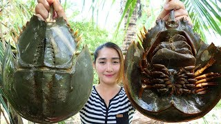 Yummy Horseshoe Crab Salad Cooking - Horseshoe Crab Cooking - Cooking With Sros