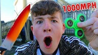 Experiment 1000+ MPH FIDGET SPINNER VS Glowing 1000 degree KNIFE!!! 🔥😱