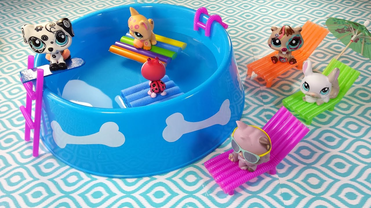 DIY Doll Working Swimming Pool Chairs & Floaties for LPS or MLP
