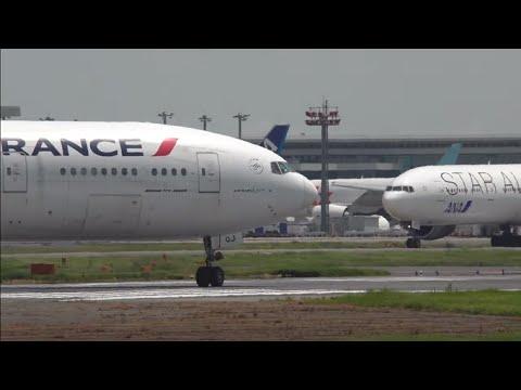 Air France 777, Finnair etc. taking off Narita Airport with ATC