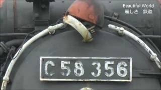 朽ち果て行く C58形蒸気機関車 無残なり!C58-356号機 陸羽西線 中山平温泉駅 光panasd 265