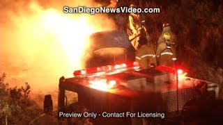 Exploding Car Sparks Small Brush Fire, Carlsbad