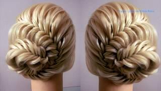 Причёска из косы Рыбий хвост с пучком. Видео-урок. Hair tutorial.