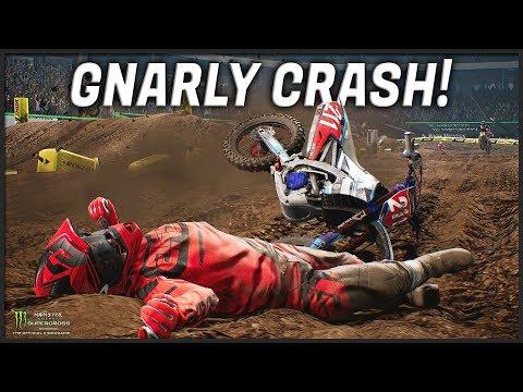 GNARLY CRASH In ATLANTA!! (Monster Energy Supercross: The Official Videogame)