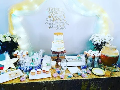 2 Tier Baby Shower cake. Twinkle twinkle little star theme. Cake decorating