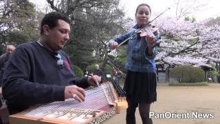 شاهد عزف أغنية أم كلثوم في حديقة يابانية