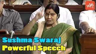 Sushma Swaraj Powerful Speech In Lok Sabha Parliament Of India YOYO Kannada News