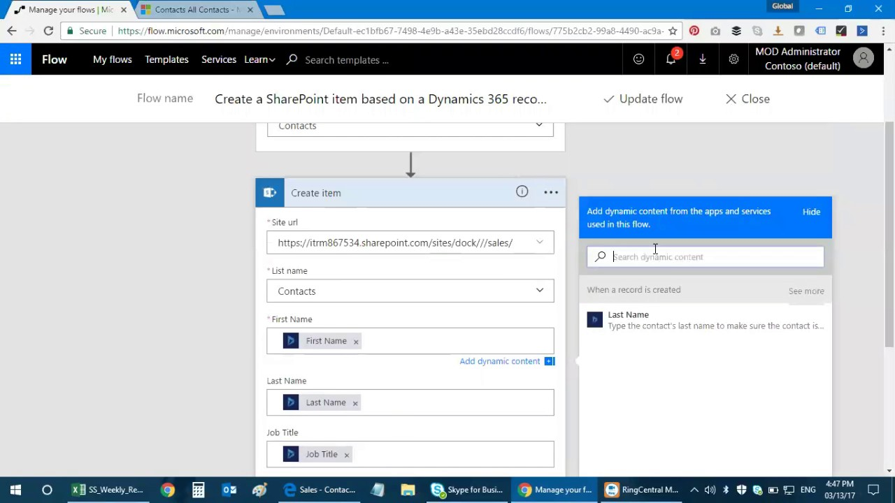 Microsoft SharePoint and Dynamics 365 CRM Integration Using Flow