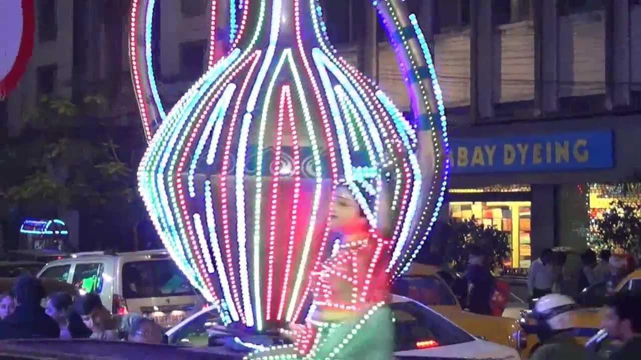 Park Street Kolkata During Christmas.Kolkata Christmas Esplanade Park Street Mp4
