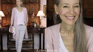 Classic Style Over 40: Organic Lip; Pink Long Cardigan OOTD